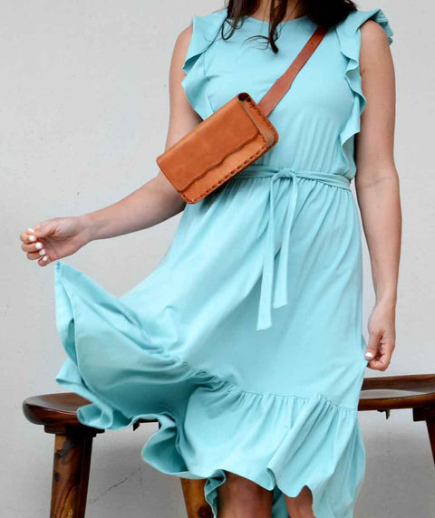 ADA flutter tank dress in Aqua Haze