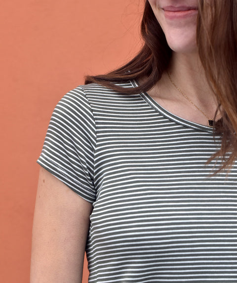 ASTORIA stripe tee in Olive/Ivory