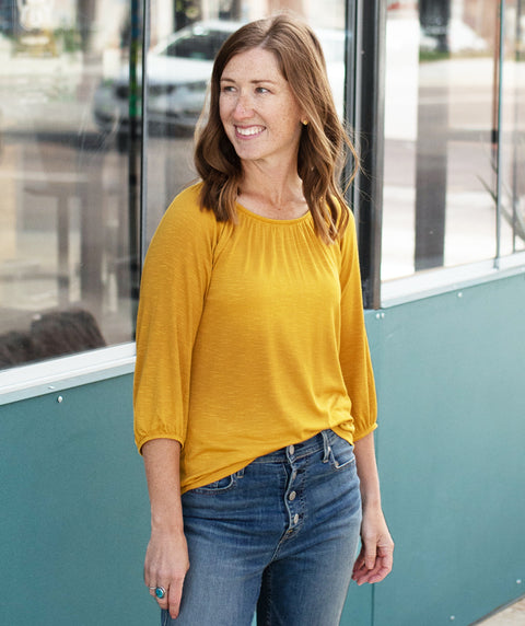 AVA peasant sleeve top in Mustard
