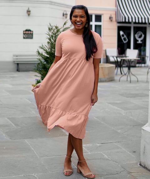 BELLA tiered dress in New Peach