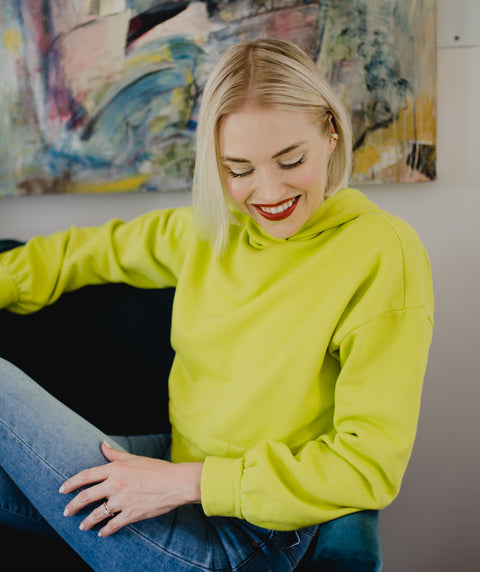BRENTWOOD cropped hoodie in Citron