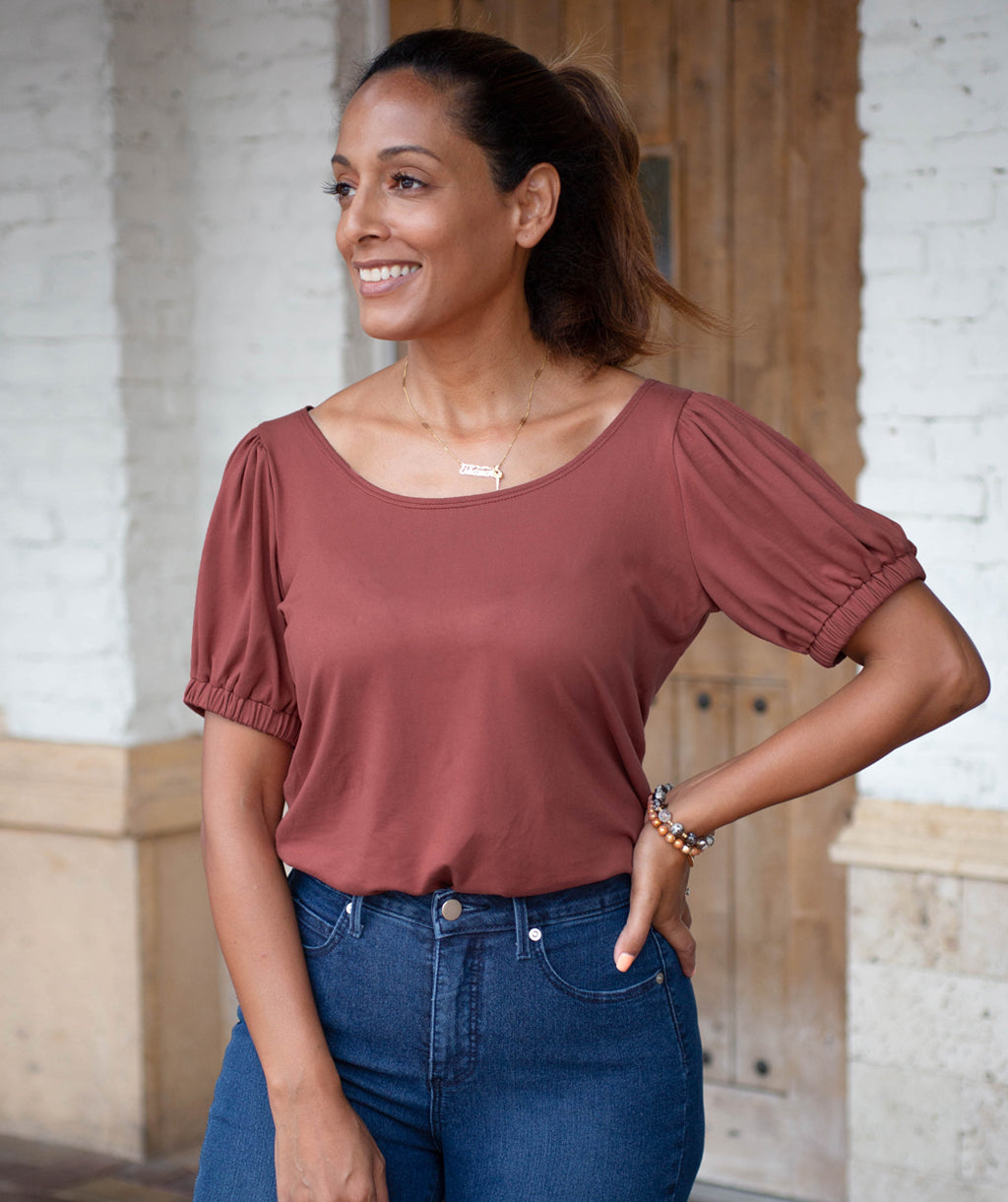 BROADWAY puff sleeve top in Dusty Mauve