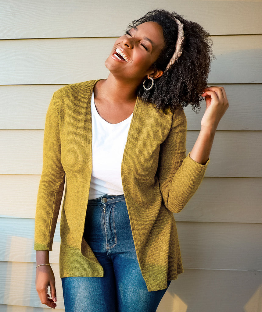 BROOKLYN rib knit cardigan in Mustard