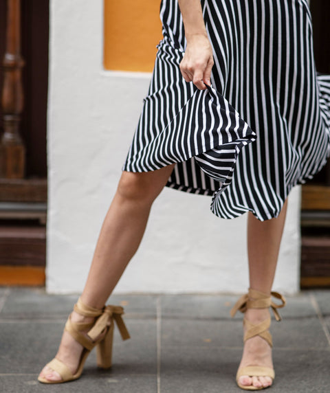 CAROLINA stripe circle skirt in Black