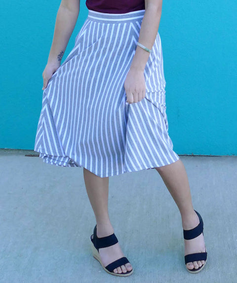 CAROLINA stripe circle skirt in Grey