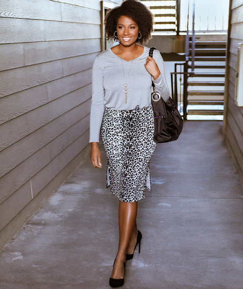 CARRIE cheetah print pencil skirt in Black/Grey