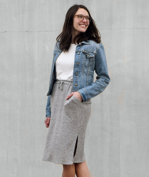 CITY sweater knit skirt in Grey Heather