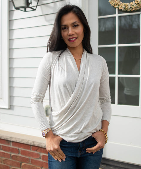 COMFORT cowl top in Light Heather
