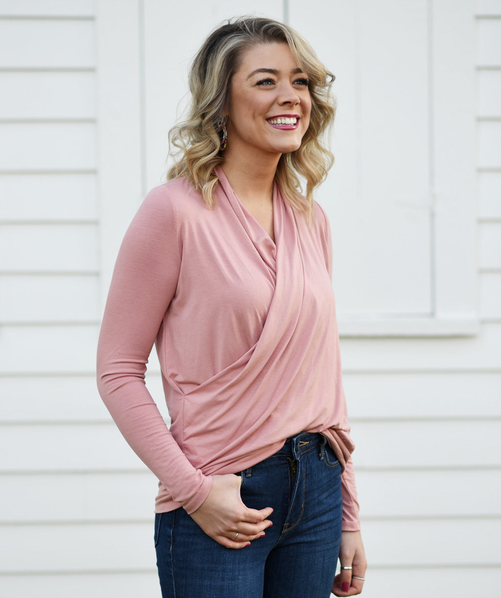 COMFORT cowl top in Rose Petal
