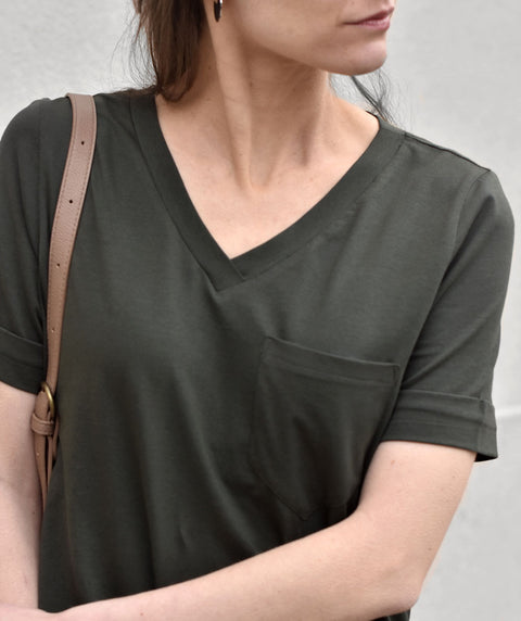 ERRAND tee-shirt dress in Dark Olive