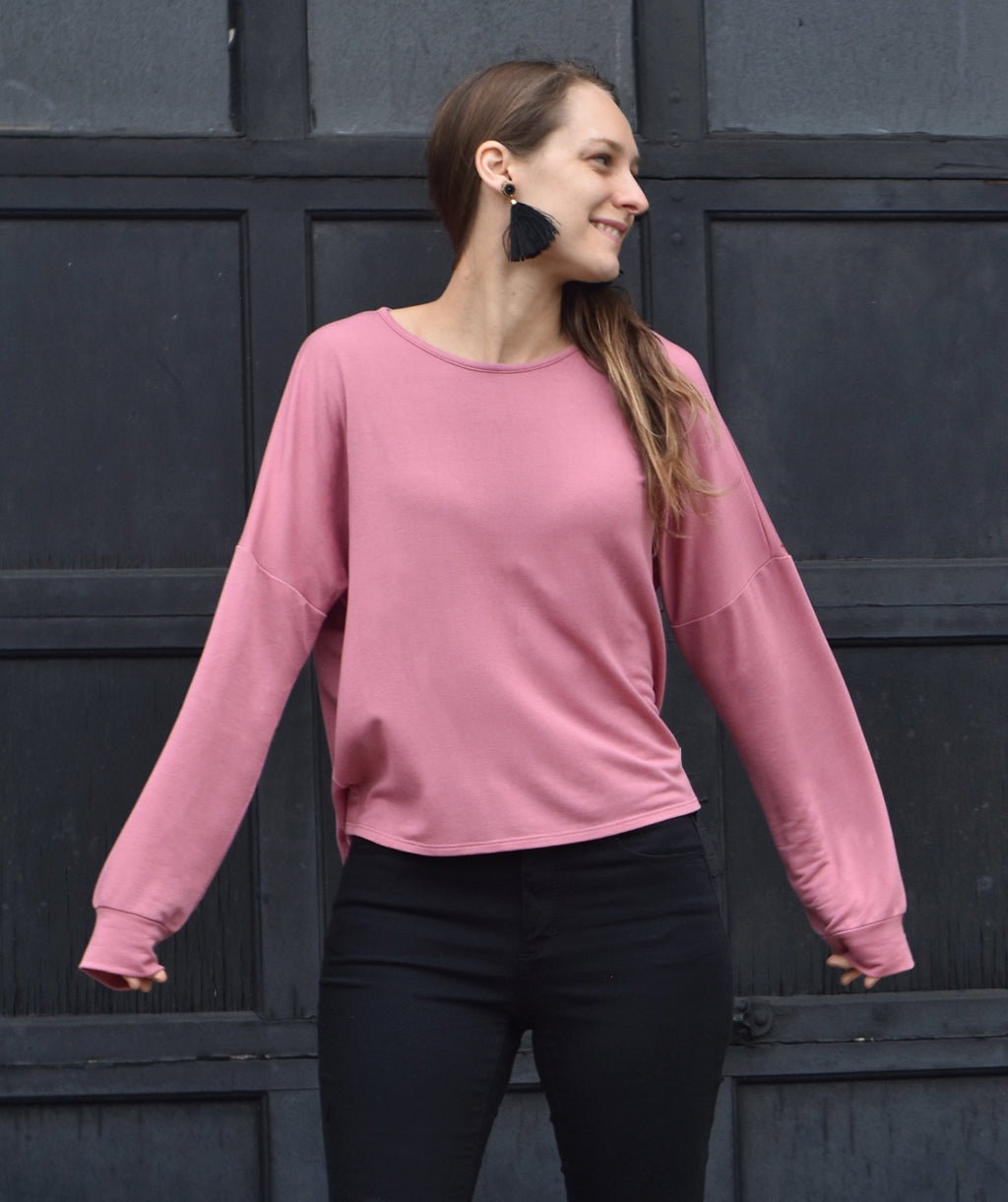 DELANCEY terry top in Mauve Pink