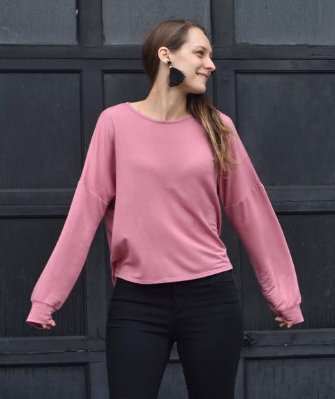 DELANCEY french terry pullover in Mauve Pink