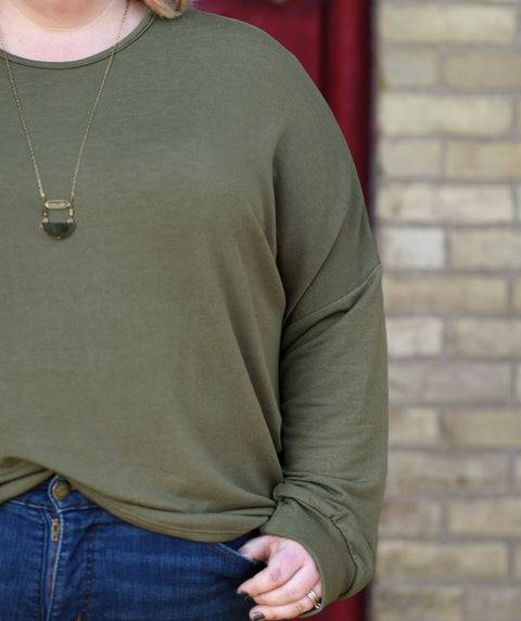 DELANCEY french terry pullover in Olive