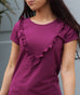 DOTTIE ruffle trim tee in Boysenberry