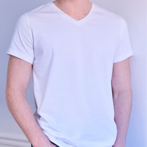MENS V-neck tee in White