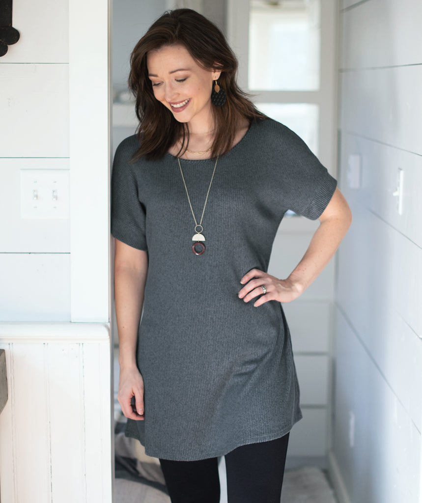 ELLIS rib knit tunic in Slate Grey
