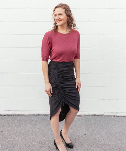 HOLLYWOOD ruched skirt in Black