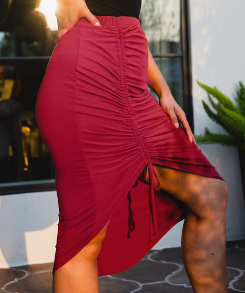 HOLLYWOOD drawstring skirt in Marsala