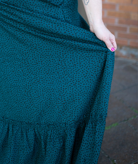 KACEY A-line printed skirt in Teal Ocean