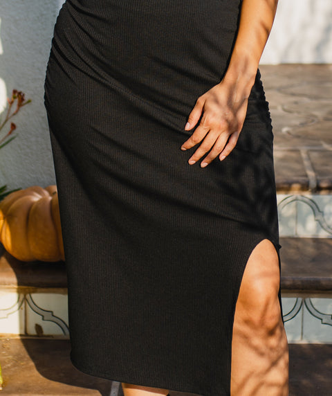 LOS FELIZ rib knit dress in Black