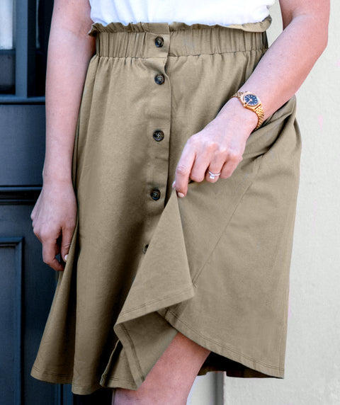 LUCINDA button paperbag skirt in Olive Grove