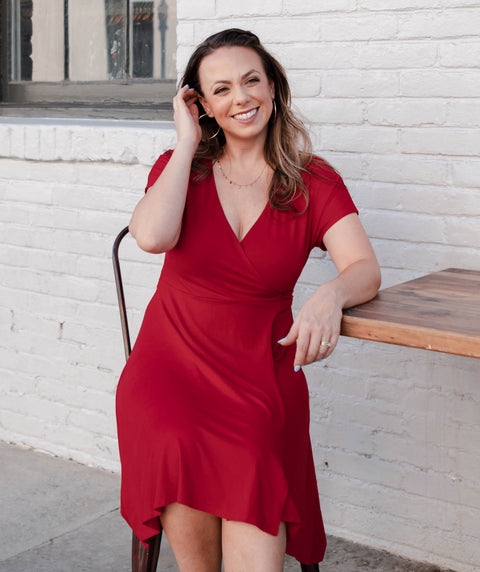 MANHATTAN wrap dress in Cranberry
