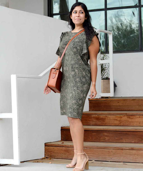 MARGARET printed sheath dress in Dark Olive