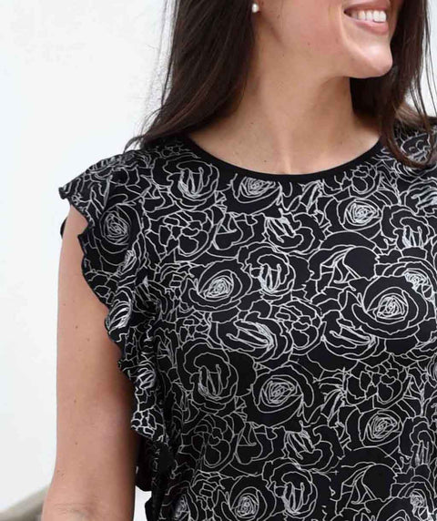 MARGARET printed sheath dress in Black