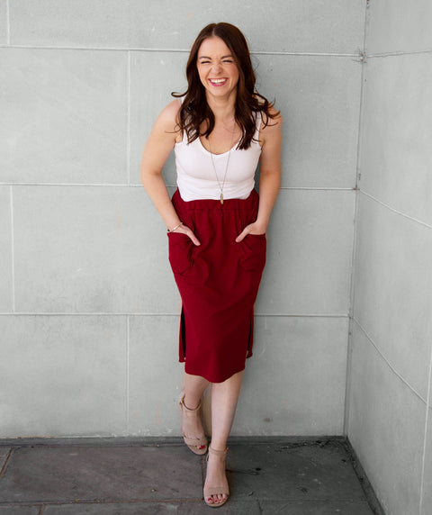 MARLAN rib-knit pencil skirt in Cranberry