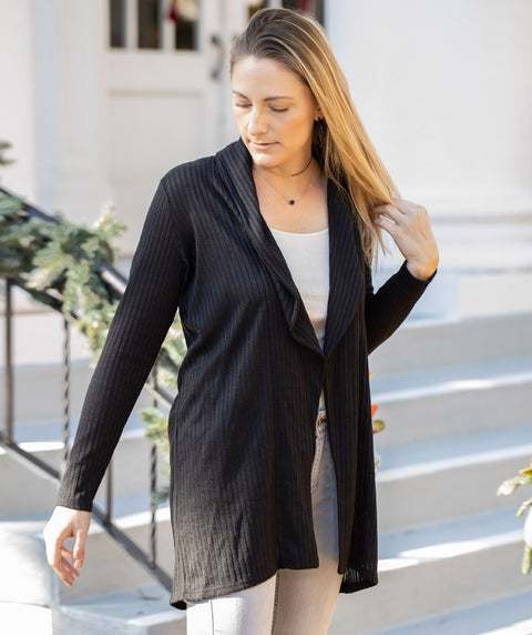 MARTHA shawl cardigan in Black