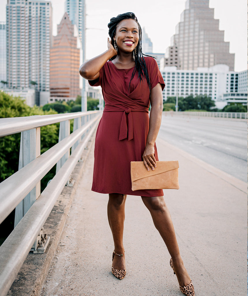 MIDTOWN tie front dress in Marsala