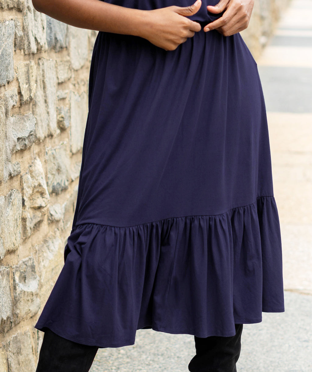 MURRAY tiered skirt in Navy