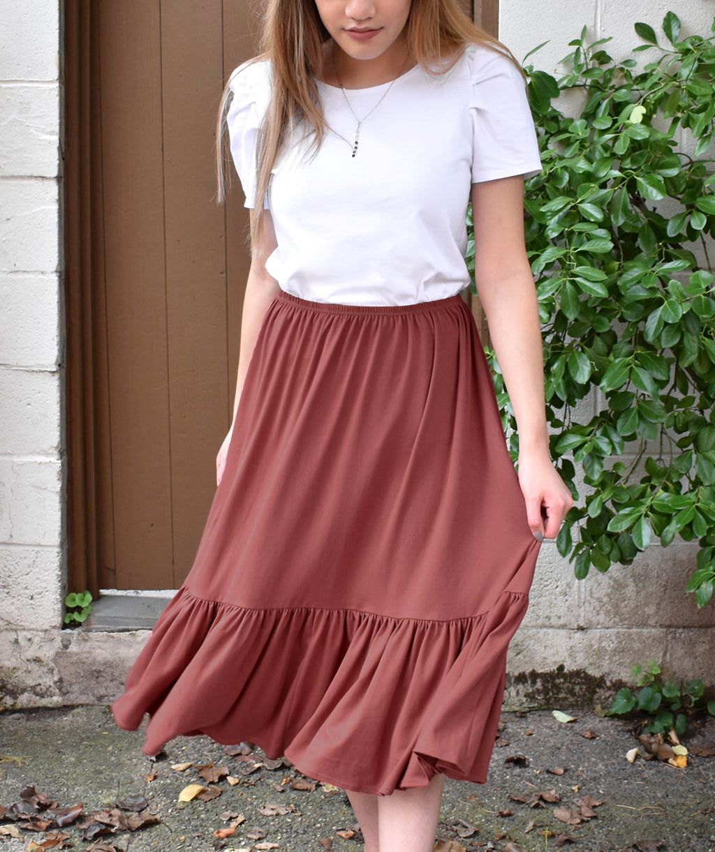 MURRAY tiered skirt in Dusty Mauve