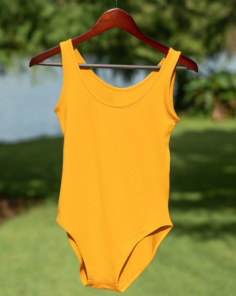 The CLOVER bodysuit in Mustard