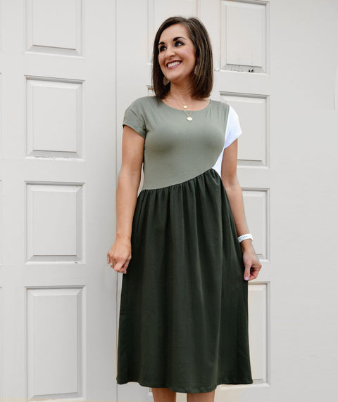 NOVA colorblocked dress in Olive/White