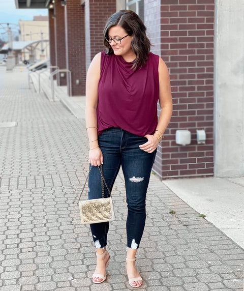 ROSETTA pleated tank in Burgundy Plum