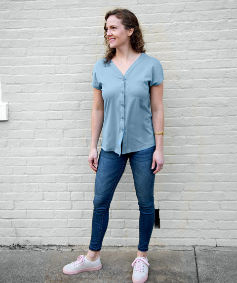 SALMA tie-front button top in Smoke Blue