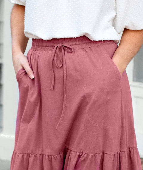 SOFIA tiered midi skirt in Sunset Pink