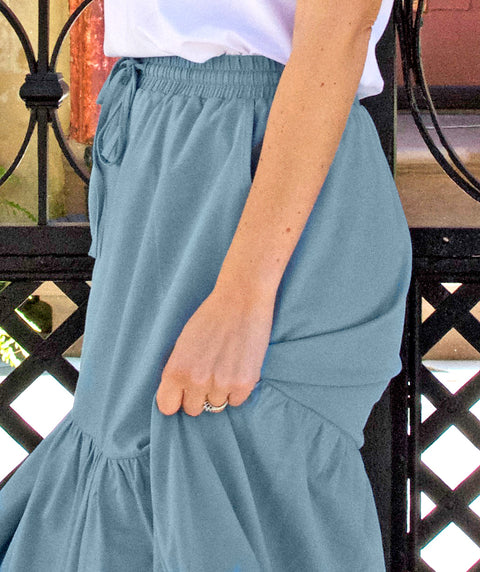 SOFIA tiered midi skirt in Smoke Blue