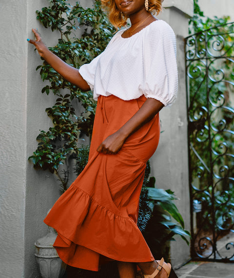 SOFIA tiered midi skirt in Pumpkin Spice