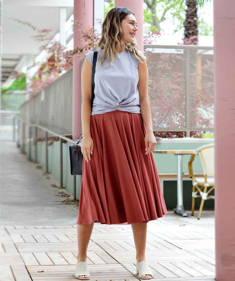 SOROYA circle skirt in Rose Dust