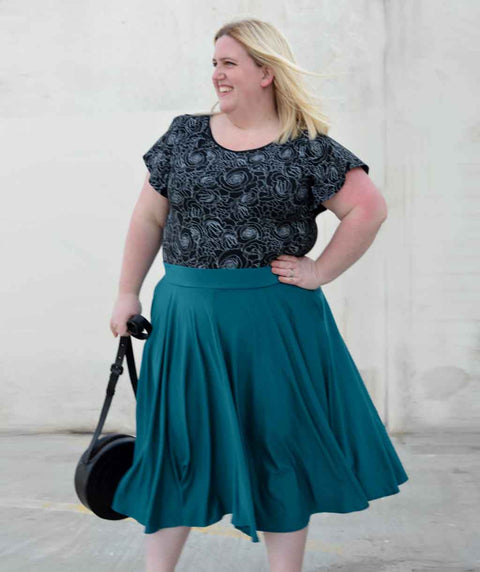 SOROYA circle skirt in Teal