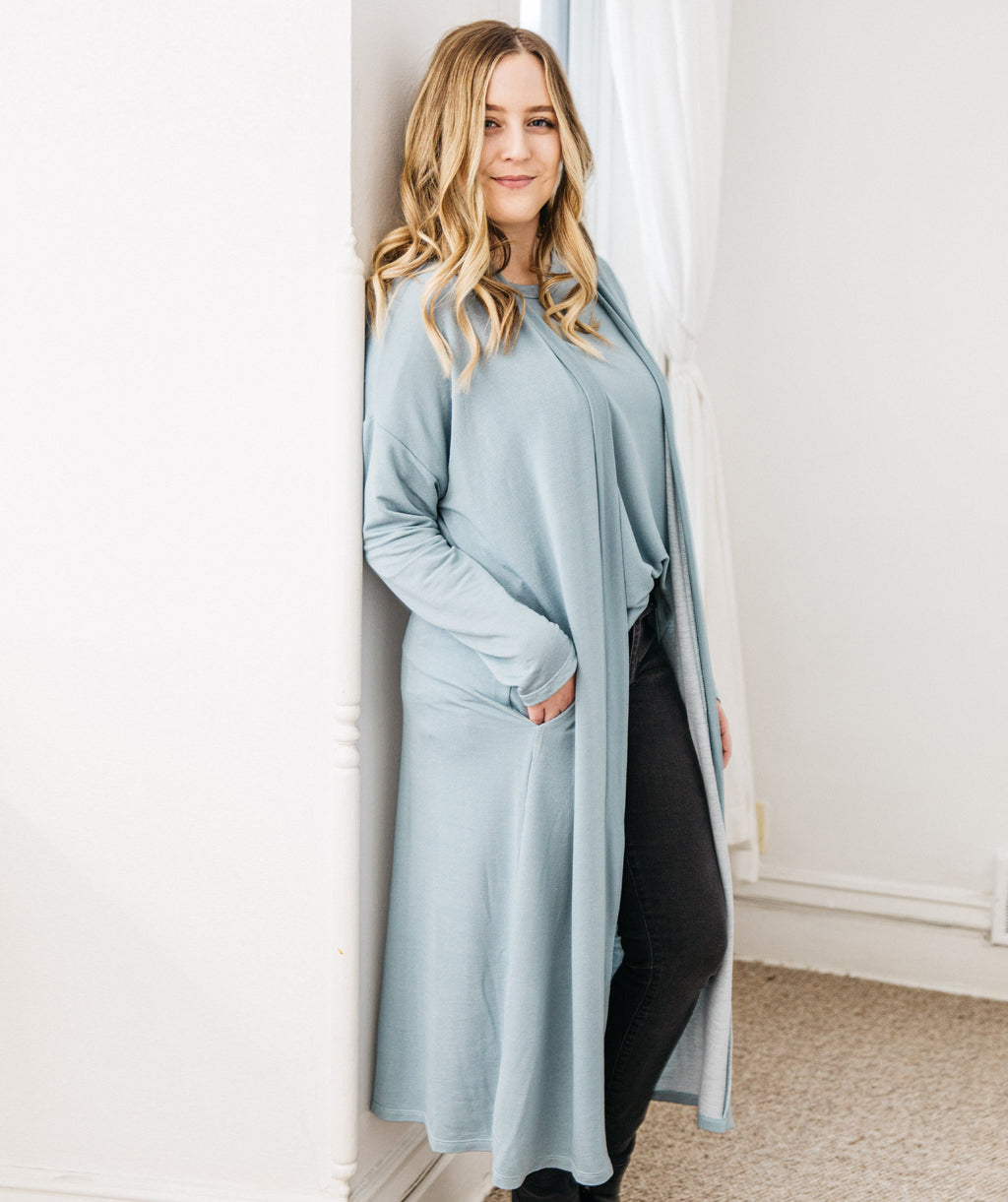 STROLL duster in Light Blue