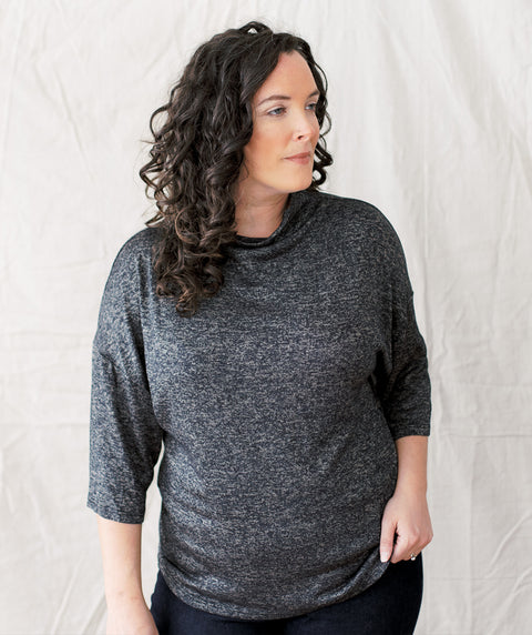 BETHANY sweater-like top in Black/Cocoa