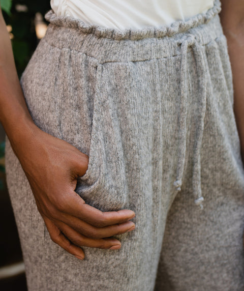 VENICE sweater rib pants in Heather Grey