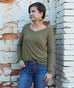 V-NECK long sleeve tee in Olive