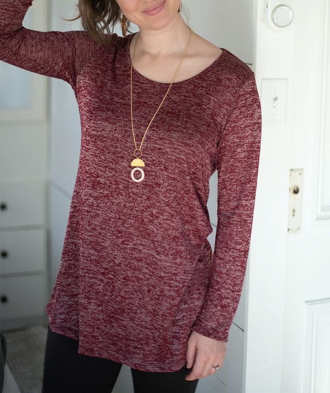 YORK tunic in Burgundy/White