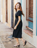 The SYDNEY button front prairie midi dress in Black