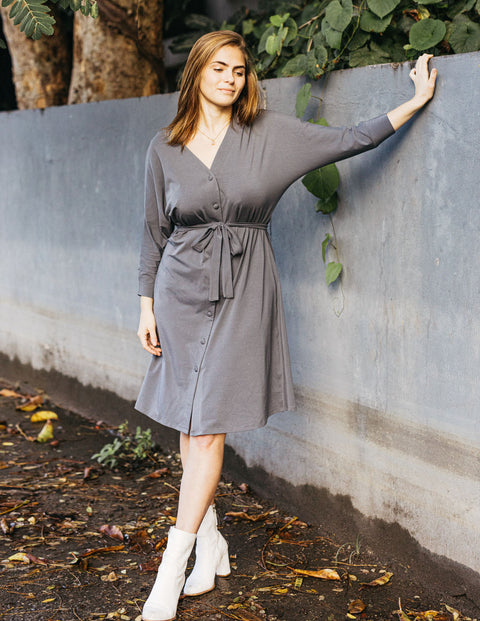 The MOLLY reversible dress/cardigan in Anchor Grey