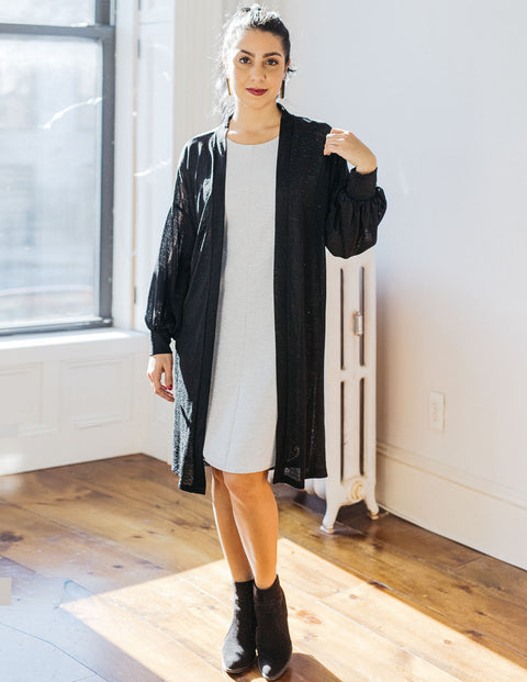 The WREN bishop sleeve lightweight duster in Black